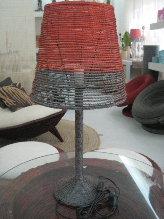 Salute to the Sun range, Noothera table lamp in abaca, fibre from the banana tree, by Eminè Mehmet