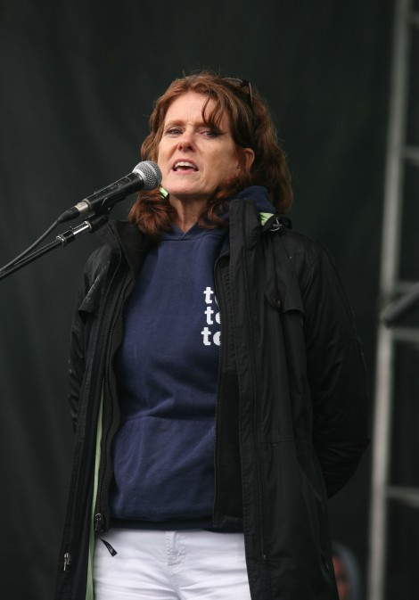 Kelly Rigg speaks at the Earth Day Rally in Washington, DC, April 22, 2012