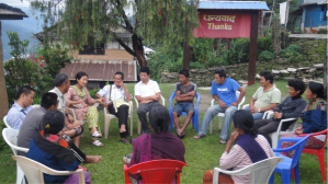 At local level: Interacting with local people on addressing the impacts of climate change and adaptation measures, in Khasur village, in Lamjung, in June 2011.